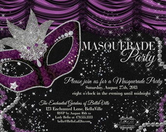 items similar to masquerade party invitation  mardi gras party, Party invitations