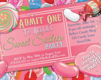 Candy Party Invitation, Sweet 16 Party Invitation, Candy Ticket Invitation, Party Invitations