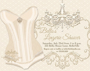 Lingerie Shower Invitation Bachelorette Party Invitations