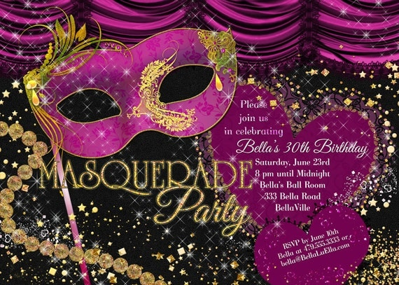 masquerade party invitation mardi gras party party by bellaluella, Party invitations