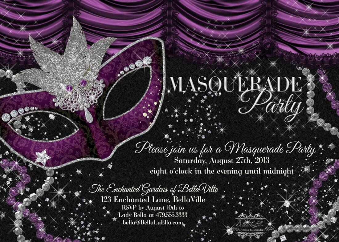 Masquerade Party Invitation Mardi Gras Party Party