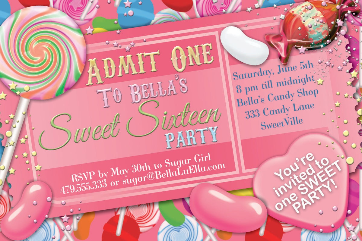 Candy Party Invitation Sweet 16 Party Invitation Candy – Sweet 16 Party Invites
