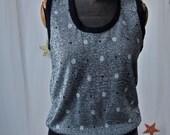 Dizzy Dot Sweater Vest 70's Jantzen Black and Silver Metallic Polka Dots Size S/M