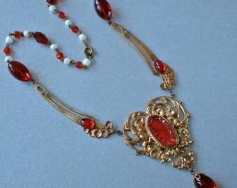 1910's Czech Red Vauxhall Necklace Glass and Gold Heart Art Nouveau Bohemian Gablonz Floral Filigree Czech Gypsy