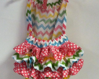 Girl Chevron and Polka Dot Ruffled Sunsuit- Newborn to 2T- Perfect for Easter and Summer