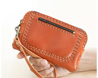 SALE, Orange Zippered Leather Pouch, Cellphone Pouch