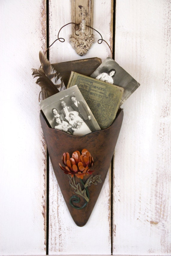 Vintage rustic floral tin metal wall pocket sconce on Pocket Wall Sconce For Flowers id=73746