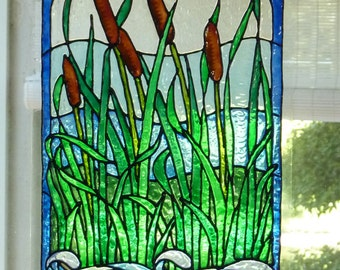 Cattails and stream window cling, stained glass look