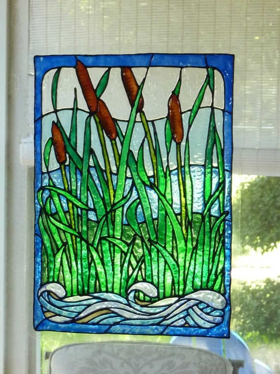 cattails and stream window cling stained glass look. Black Bedroom Furniture Sets. Home Design Ideas