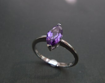 Marquise Engagement Ring in 950 Platinum, Amethyst Ring, Amethyst Engagement Ring, Marquise Ring, Solitaire Ring, Solitaire Engagement Ring