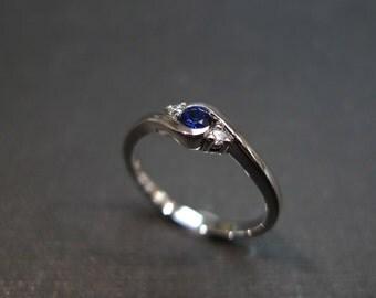 Diamond and Blue Sapphire Engagement Wedding Ring Band Sapphire Rings Blue Gemstone Bands Women Jewelry Custom Made Jewellery Gift Platinum