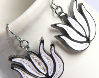 Lotus Earrings White and Dark Grey Handmade Niobium Bridesmaid gift Eco Friendly Jewelry hypoallergenic