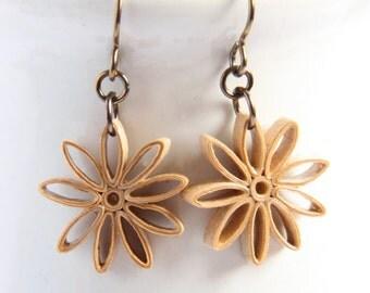 20% off SALE Tan Star Earrings Nine Pointed Star Baha'i Jewelry Niobium Eco Friendly Artisan Jewelry hypoallergenic