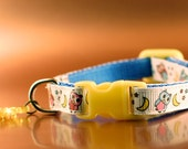 Cat Collar - Owls Pattern with Yellow Buckle and Fish Charm