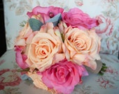 Peach and Pink Rose Bouquet - Silk Wedding Bouquet