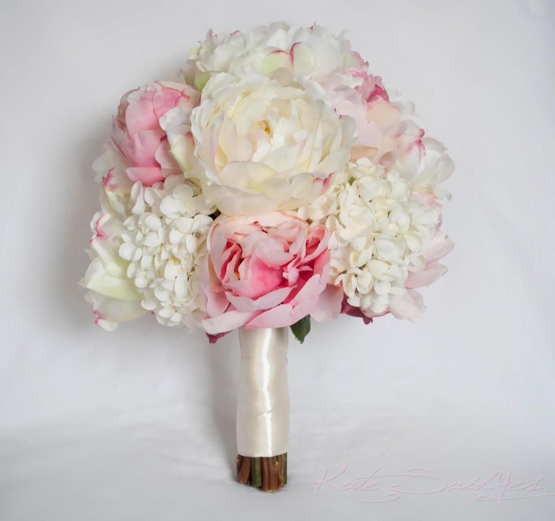 Ivory And Blush Peony And Hydrangea Wedding Bouquet