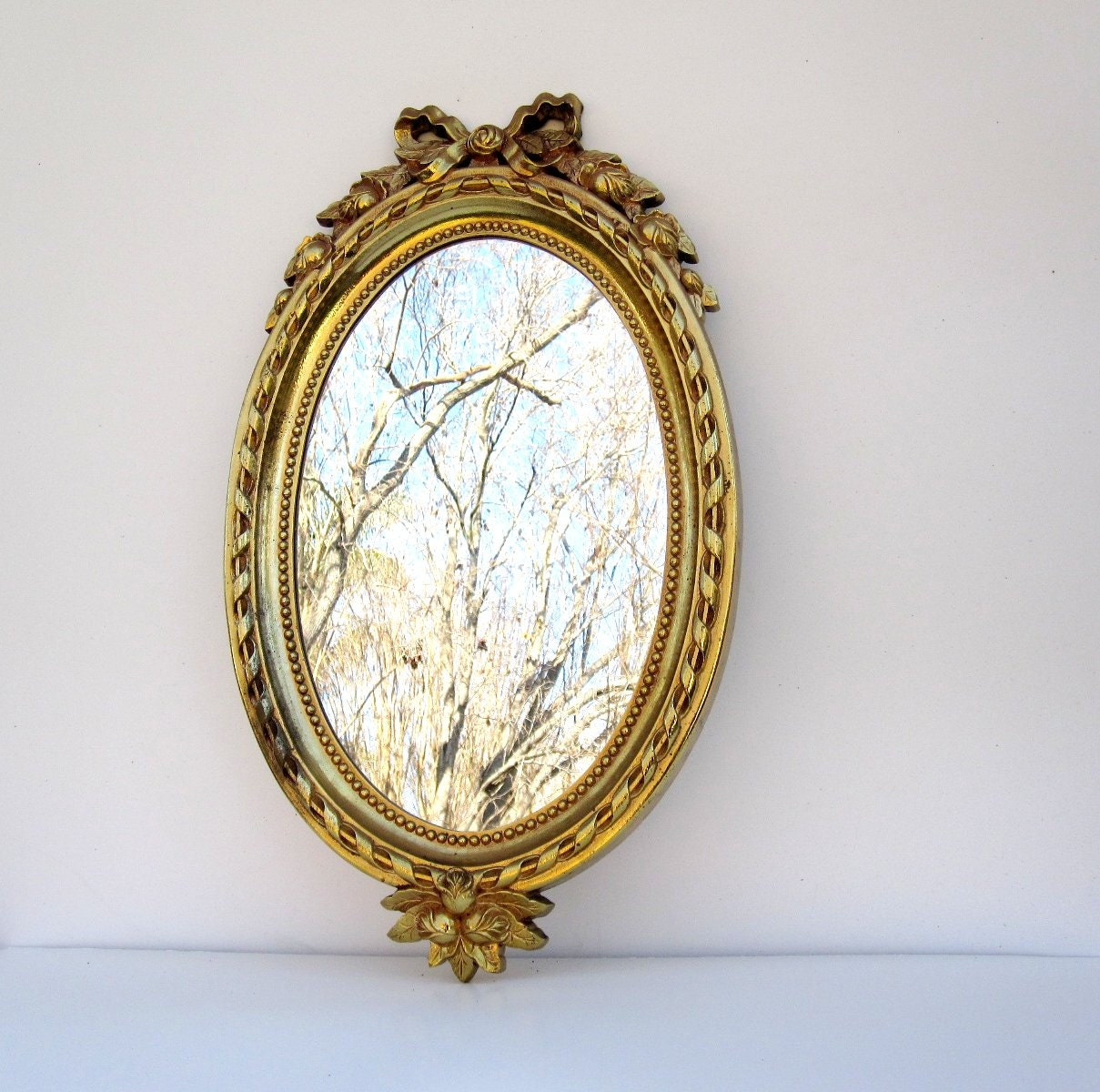 Vintage Large Wall Mirror Ornate Oval Mirror Gold