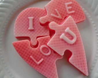 I Love You Heart Puzzle Soap - heart soap, stocking stuffer for her