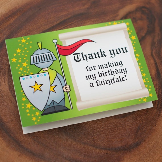 Thank You Card from the Knights and Dragons Fairytale DIY Printable Birthday Party Collection by Spaceships and Laser Beams