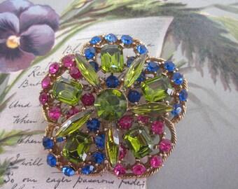 Colorful Rhinestone Pansy Flower Brooch    H574B