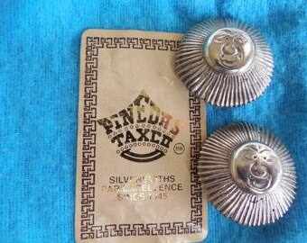 Signed PINEDA Taxco Mexico .970 Sterling Silver Clip Earrings Face of the Sun    JAE6