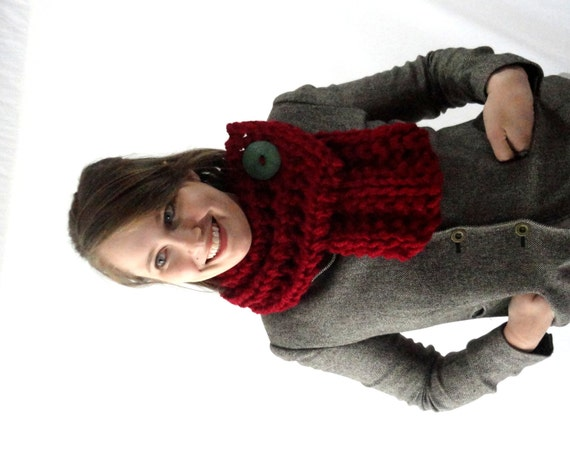 Cranberry Red Chunky Knit Cowl Scarf with Green Button