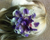 Purple Pink and Cream Flower Hair Clip