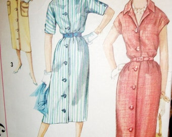 Vintage SIMPLICITY PATTERN, 1957 Dress Pattern, Size Junior 15, Bust 35,
