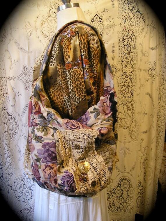 Bohemian Hobo Bag slouchy bucket purple thick tapestry fabric bag handmade