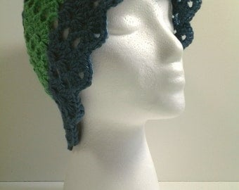 Blue and Green Crocheted Hat