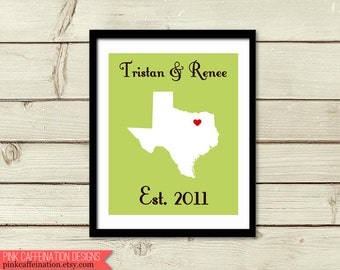 Unique Wedding Gifts Dallas : ...Personalized Wedding PrintCustom Wedding Gift Anniversary Gift