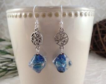 Lampwork Earrings, Crystal Earrings, Lampwork Glass Earrings, Glass Bead Earrings, Beadwork Earrings, Blue Earrings