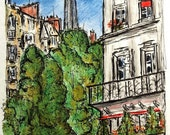 Eiffel View Original Pen, Ink and Color Pencil Drawing by Paul Piasecki