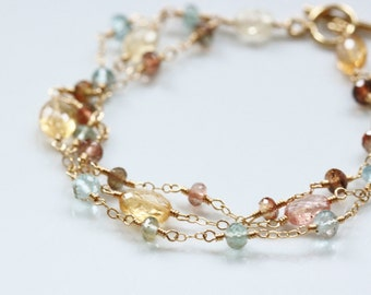 AA-AAA Imperial Topaz Bracelet, Moss Aquamarine Bracelet, Andalusite Bracelet, 14k Gold Filled, Wire Wrapped, March November Birthstone