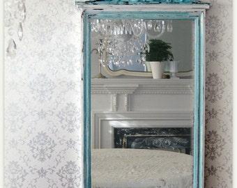 Beach Cottage Robins Egg Blue Large Vintage Shabby Chic Mirror