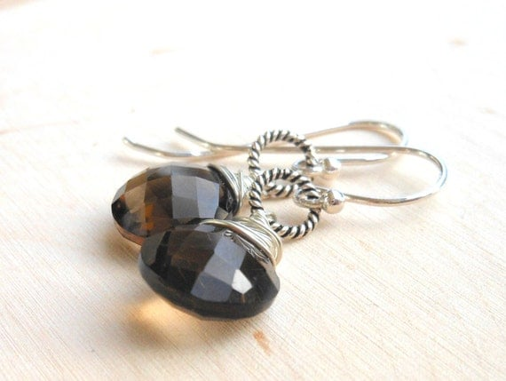 Sterling Silver Smoky Quartz Earrings, Faceted Coin stones warm brown rustic earrings