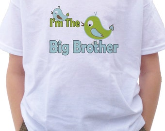 I'm the BIG BROTHER Cute Birds T-shirt birdie tweet announcement shirt