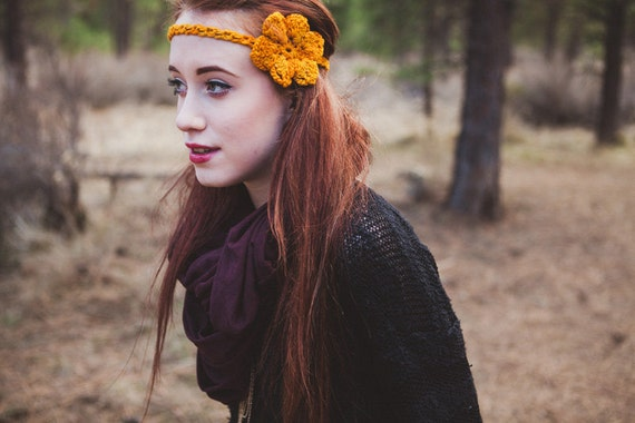 Sunset Yellow Starlette Crocheted Headband