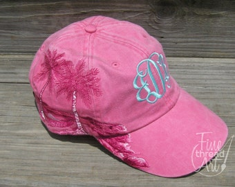 LADIES Palm Tree Monogram Baseball Cap Hat Leather strap Mom Bridesmaid Bride Bachelorette Pigment Dyed
