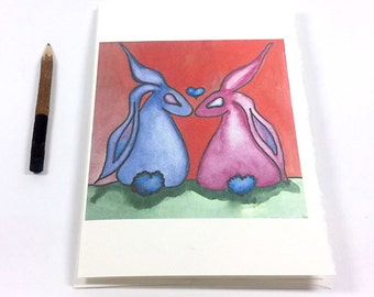 Love CARD Bunnies Hearts - Stationary Art Notecard w/Envelope - Bunny Love