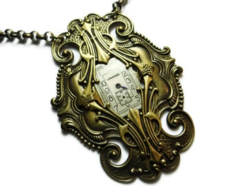 Steampunk Necklace LaGrand Nouveau Time Works in Ox Brass Filigree with Frozen Watch Face by Dr Brassy Steampunk