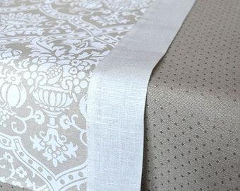 Linen Table Runner Shabby Chick Runner Linen Runner Weddings Runner With White Print And White Borders