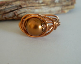 Wire Wrapped Ring Swarovski Bronze Glass Pearl Natural Copper Wire