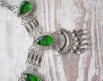 Vintage Silver and Green Tribal Necklace