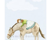 8x10 Print - 'Love' - Girl Bedroom Nursery Wall Art Print - Daisy, Aqua, Green, Horse, Pony - Inspirational - Emily Burnette - Recipe 4 Cute - recipe4cute