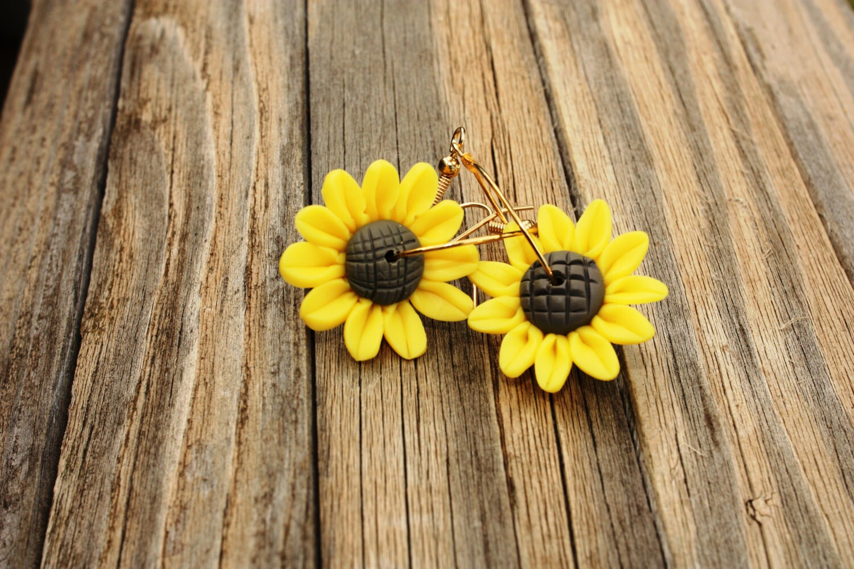 Sunflower Earrings Sunflower Jewelry Flower By Draedesigns
