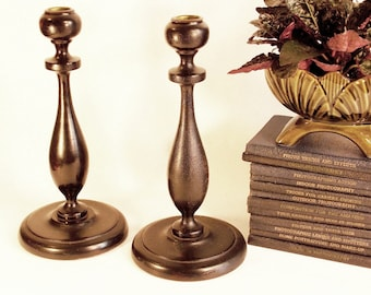 Antique Candle Holders Primitive Wood Taper Candle Holder Hand Turned Lathed 1900s