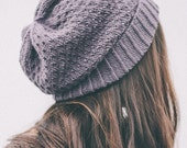 knit slouch winter hat wool organic - peony