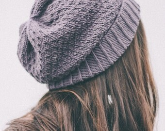 knit slouch winter hat wool organic - orchid purple LAST ONE