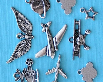 Airplane Charm Collection Antique  Silver Tone Aviation Selection - COL205